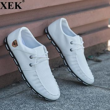 XEK 2018 New Brand Running Sneakers For Men Soft Moccasins Men Loafers Leather Shoes Men Flats Gommino Driving Shoes JH97