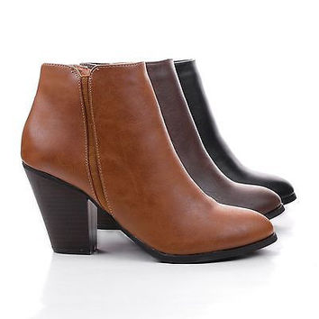 Tevay Brown Pu By City Classified, Almond Toe Chelsea Inspired Block Stacked Heel Ankle Boots