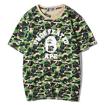 Bape Aape & UNDEFEATED Summer Fashion New Letter Print Camouflage Women Men Top T-Shirt Green