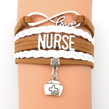 Infinity Love Nurse Bracelet- Customized Coffee with White Professional