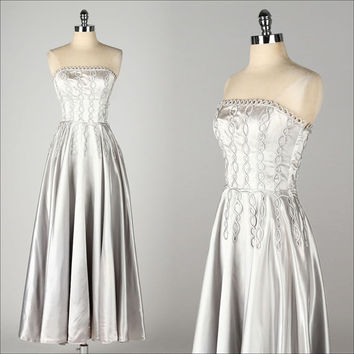 vintage 1940s dress . silver satin gown . cording applique . strapless . 3015