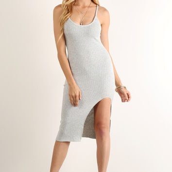 The Grigio- Ribbed Midi Dress With Thigh Slit