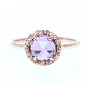 Checker-Board Cut Amethyst Gold Ring with White Topaz