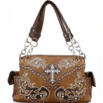Western handbag with Rhinestone Winged Cross
