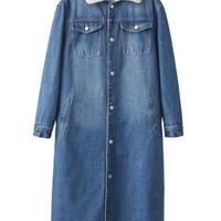 Blue Lightwash Faux Shearling Lining Longline Denim Coat
