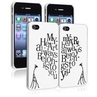 "Insten® Valentine's Day Gifts - Snap-on Case Compatible with Apple® iPhone 4 / 4S, White with Giraffe Couple ""My Heart Belongs to You"" Rear x 2-Pack"