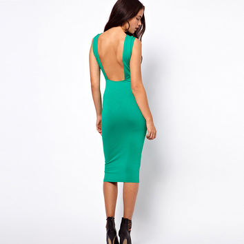 Sleeveless Open-Back Bodycon Dress