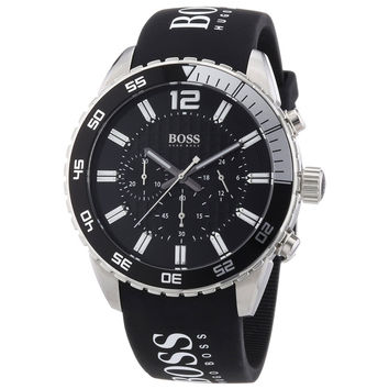 Hugo Boss 1512868 Men's Black Dial Black Rubber Strap Chronograph Watch