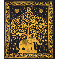 Black and Gold Elephant and Tree Hippie Tapestry Wall Hanging Bedspread on RoyalFurnish.com