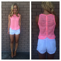 Neon Pink Burnout Button Back Top
