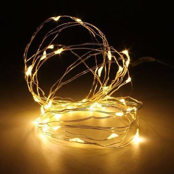 ICIKRE9 Mising 5M 50 LED String Light Christmas Copper Wire LED String Fairy Light AAA Battery Operated Party Wedding Decor