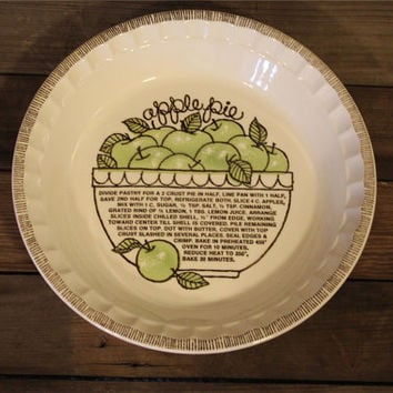 Vintage Royal China by Jeannette Apple Pie Baker- Pie Dish- Pie Pan- Made in USA- Recipe- Green- Retro Kitchen- Serving- Farmhouse