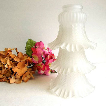 Vintage frosted ruffled white glass lamp shade wall sconce shade tulip bell fluted trumpet shape chandelier light shades THREE AVAILABLE