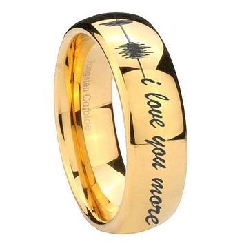 10MM Dome Sound Wave i love you more more 14K Gold IP Shiny Tungsten Carbide Men's Ring