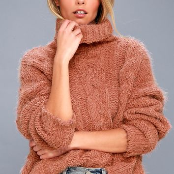 Cozy Down Blush Knit Turtleneck Sweater