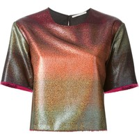 Marco De Vincenzo degradé glitter frayed edges crop top
