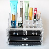 2 in 1 Display Crystal Acrylic Makeup Beauty cosmetic drawer organizer 1x