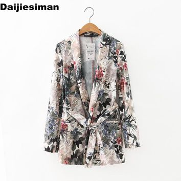Women stylish floral print blazer Notched long sleeve open stitch sashes coat pockets casual outerwear casaco feminine tops