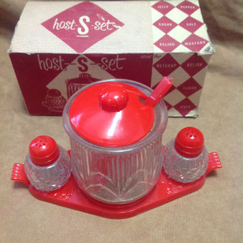 Vintage Host-S-Set Plastic and Glass Mini Hostess Condiment Set