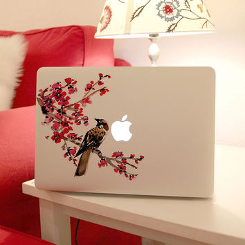 Removable DIY fashion beautiful vinyl picture flowers with owls tablet and laptop computer sticker for laptop,205*270mm