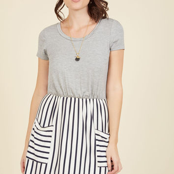 Comings and Easygoings Twofer Dress in Navy Stripes | Mod Retro Vintage Dresses | ModCloth.com