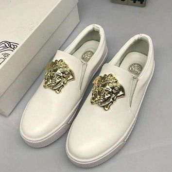 2018 Hot£¡Versace Fashion Men Casual Pure White Metal Buckle Slip-On Leather Flats Shoe Sneakers I-CSXY