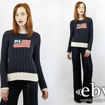 Vintage 90s Ralph Lauren AMERICAN FLAG Navy Sweater XS S Ralph Lauren Sweater Navy Swe