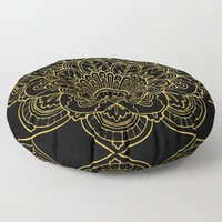 Golden Yellow Mandala Floor Pillow by allisone