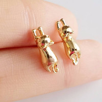Gold 3D Cat Stud Earrings - Cute Hanging Gold, Rose Gold and Silver Tone Cat Earrings