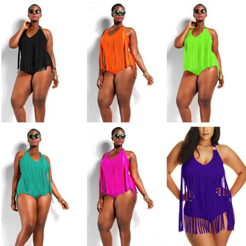 Fringe Tassels Plus Size Swimwear Sexy Halter Wireless Padded Monokini Swimsuit Women High Waist One Piece Beach Wear