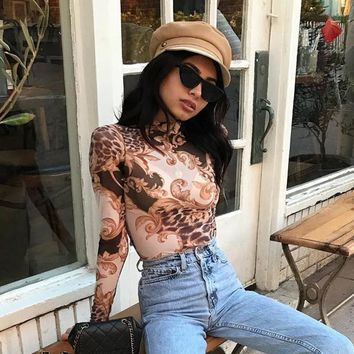 Sexy Tops Palace Print Lace Hollow Out Long Sleeve T-shirts [2051149856865]