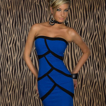 Blue Scale Pattern Strapless Bodycon Mini Dress
