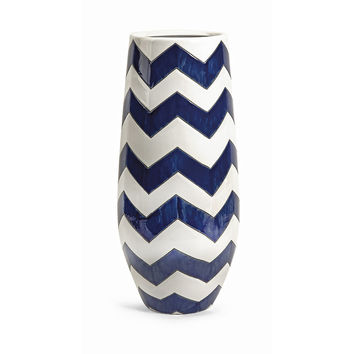 Essentials Marine Blue Chevron Vase