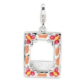 3-D Enameled Photo Frame Charm in Sterling Silver