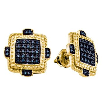 Yellow-tone Sterling Silver Mens Round Blue Color Enhanced Diamond Square Cluster Earrings 3/8 Cttw