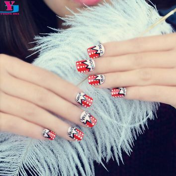 New 24pcs/set Red Lovely Candy Design Fake Nails Makeup Set UV Gel Faux Ongles Full Cover Rock Short Acrylic Nail Tips Free Glue