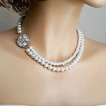 Pearl Necklace with Side Brooch Silver Crystal 2 Strand Pearl Wedding Jewellery