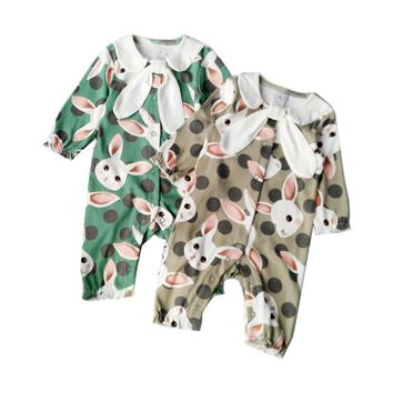 Rabbit Pattern Baby Boy Girl Rompers Spring Autumn Long Sleeve Cotton Baby Jumpsuits Printing Christmas Kids Baby Clothes