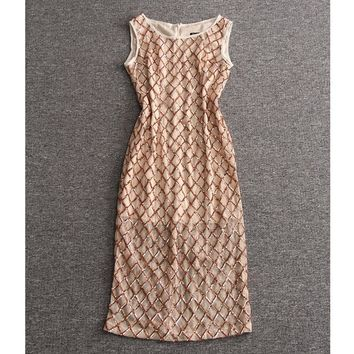 women clothes 2017 high quality summer dresses black / champagne mesh sequin dress boat neck sleeveless midi dress free shipping