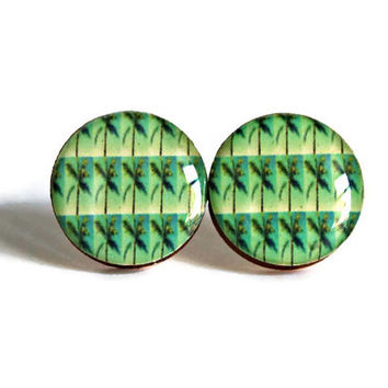 Palm Tree Studs - resin jewelry post earrings florida green palms pattern pop art hipster artsy cute bright handmade FREE shipping to USA