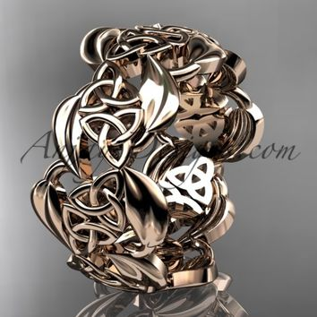 14kt rose gold leaf and celtic trinity knot wedding band, engagement ring CT7262G