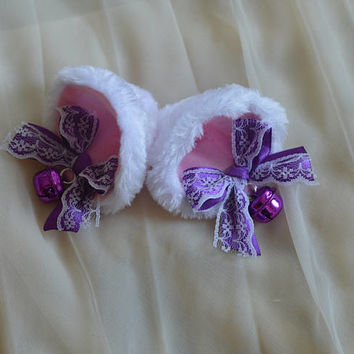 Kitten play clip on cat ears with ribbon bows and bells - neko lolita cosplay costume - kitten play gear accessories - white purple and pink
