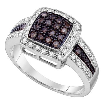 10kt White Gold Womens Round Brown Color Enhanced Diamond Cluster Ring 1/2 Cttw - Size 9