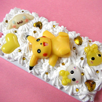 Pikachu Phone Case, 3D Phone Case, Pokemon Phone Case, White iPhone 5 / 5s Case, Kawaii Decoden Phone Case, Whipped Cream Phone Case