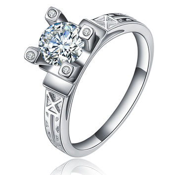 Eiffel tower ring exquisite silver plated jewelry wedding rings filled zirconia ring for women bague bijoux accessories MYR040