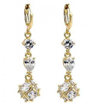 Gold Layered Long Earring, Teardrop and Ball Design, with Cubic Zirconia, Golden Tone
