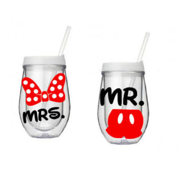 Disney Wine Cup Set, His And Her Mr. And Mrs. Gift, Disney Tumbler, Personalized Tumbler