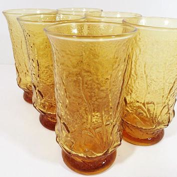 Anchor Hocking Rainflower Amber Tumblers Glasses Vintage Mid Century 1970's  textured glassware mod flowers textured glass