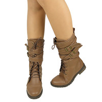 Womens Mid Calf Boots Cross Strap Buckles Combat Casual Comfort Shoes Shoes Ligh