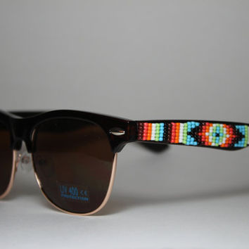 hand beaded tribal design sunglasses by brownbeadednet on Etsy
